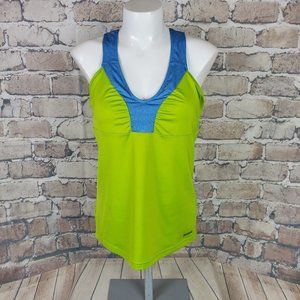 Reebok Play Dry Tank Fitted Shelf Bra Green Small